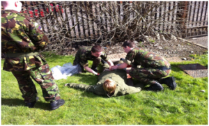 Members of C Coy taking part in medic training