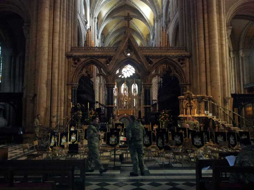 The Band set up for a lunchtime recital at Durham Cathedral