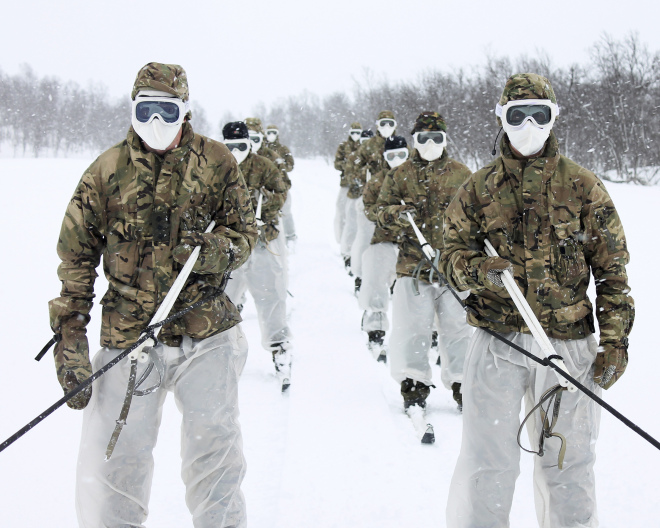 Army Commandos and Royal Marine Commandos training in Norway.