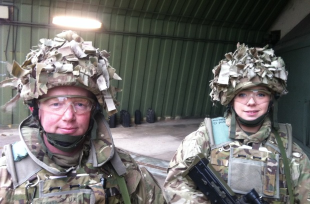 Reservists LCpl Molloy and LCpl Jones on Mission Rehearsal Exercise (MRX).